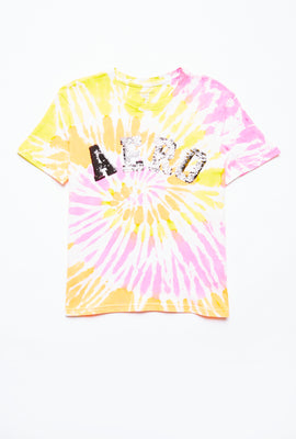 AERO Girls Tie Dye Flippy Sequin Aero Logo Graphic Tee