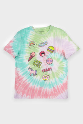 AERO Girls Tie Dye Aero Good Vibes Yeah Graphic Tee