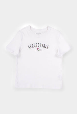 AERO Girls Hi-Lo Aéropostale 1987 Flower Graphic Tee