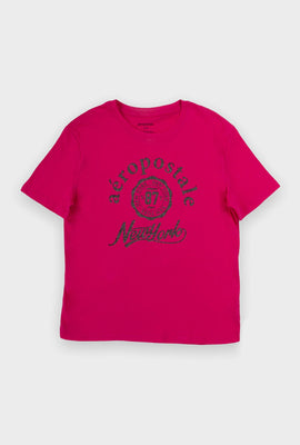 AERO Girls Hi-Lo Aéropostale 87 New York Glitter Print Graphic Tee