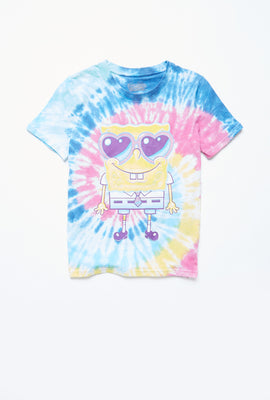 AERO Girls Hi-Lo Tie Dye SpongeBob Graphic Tee
