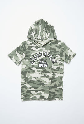 AERO Boys Camouflage Aéropostale NYC 1987 Graphic Hoodie Tee