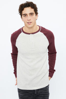 Thermal Raglan Henley Long Sleeve Tee