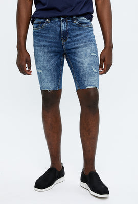 Short en denim ajusté à effet Destruction