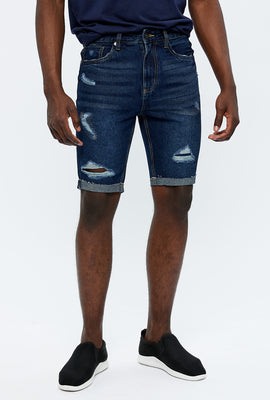 Slim Destroyed Denim Short