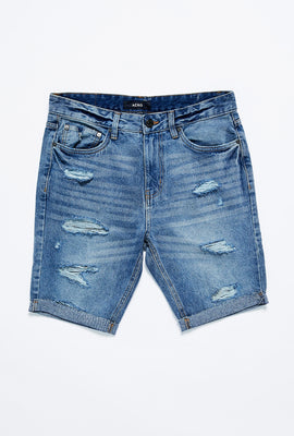 Short mince en denim à effet Destruction