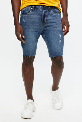 Short denim détruit à coupe étroite