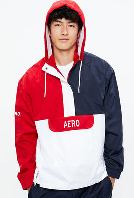 AERO Mock Neck Hooded Colour Block Pullover Windbreaker