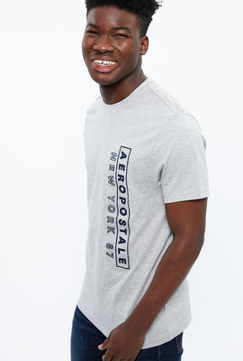Aéropostale Vertical Embroidery Applique Graphic Tee