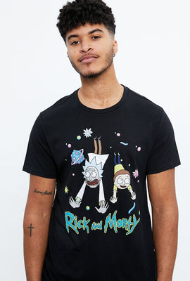 T-shirt à imprimé Rick et Morty volants