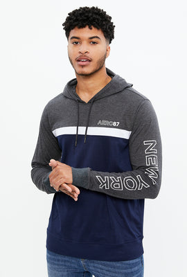 AERO 87 New York Colour Block Hooded Long Sleeve Tee