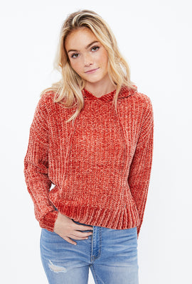 Shiny Chenille Hooded Sweater