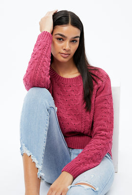 Matte Chenille Jacquard Cable Sweater