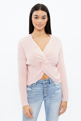 Twisted Front Cropped Sweater