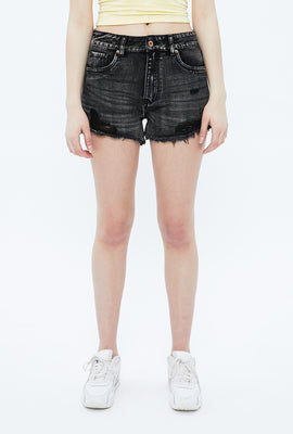 High Rise Mom Raw Hem Short