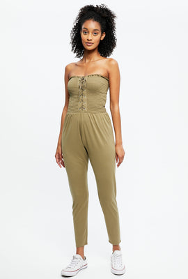 Smocked Lace-Up Jumpsuit