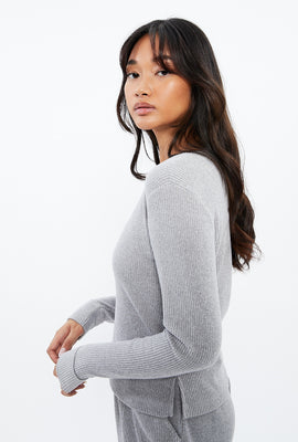 Super Soft Solid V-Neck Long Sleeve Top
