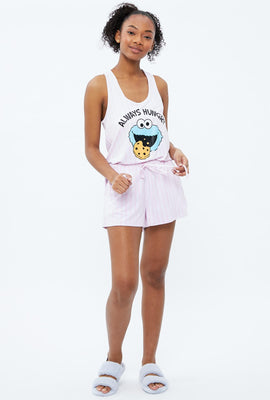 Super Soft Cookie Monster Always Hungry Graphic Pajama Romper