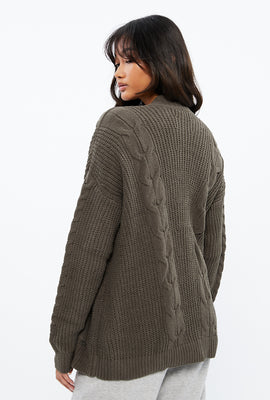 Matte Chenille Jacquard Cable Cardigan