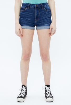 Seriously Stretchy High Rise Curvy Roll Hem Short