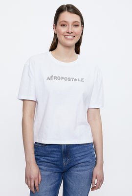 Aéropostale Crop Tie Dye Chest Logo Graphic Tee