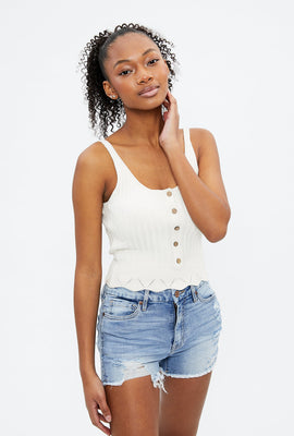 Ribbed Button-Up Sweater Tank Top