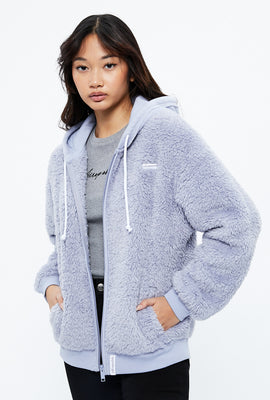 Aéropostale Sherpa Full Zip Crest Graphic Hoodie
