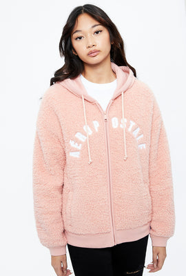 Aéropostale Sherpa Chest Logo Full Zip Graphic Hoodie