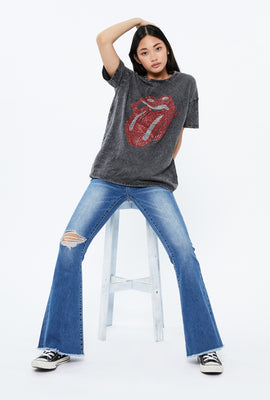 Oversized Rhinestone The Rolling Stones Graphic Tee