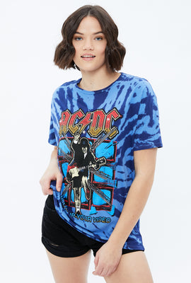 Oversized ACDC Tie Dye Graphic Tee
