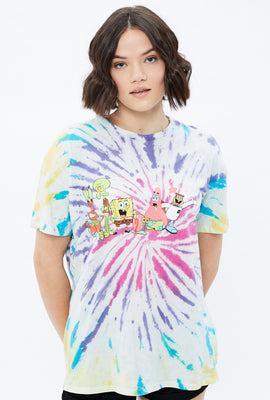 Oversized SpongeBob Gang Tie Dye Graphic Tee