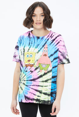 Oversized SpongeBob and Patrick Tie Dye Graphic Tee