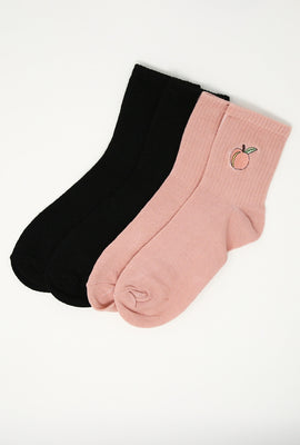 Embroidered Demi Crew Socks 2-Pack