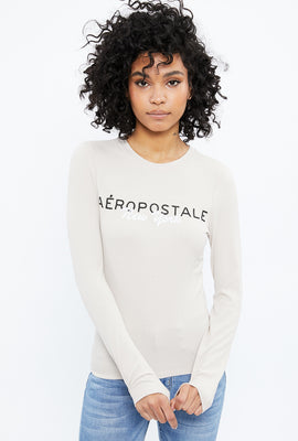 Aéropostale New York Chest Embroidery Long Sleeve Graphic Tee
