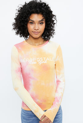Aéropostale Chest Embroidery Tie Dye Long Sleeve Graphic Tee