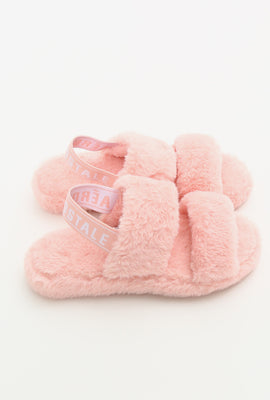 Fuzzy Faux Fur Slide with Strap