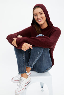 Hooded Pullover Tie Bottom Sweater