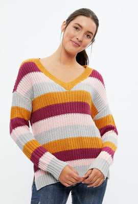 Striped V-Neck Pullover Sweater