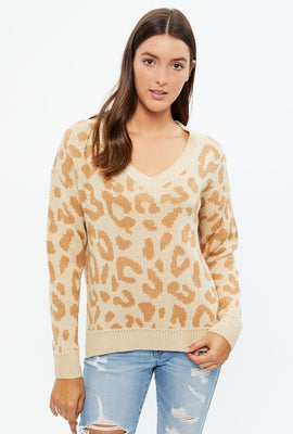 Animal Print V-Neck Pullover Sweater