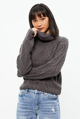 Jacquard Cable Turtleneck Sweater