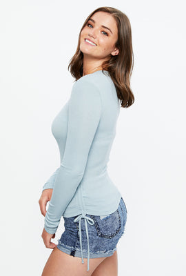 Side Tie Long Sleeve Top