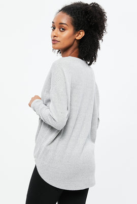 Ribbed Knot Front Long Sleeve