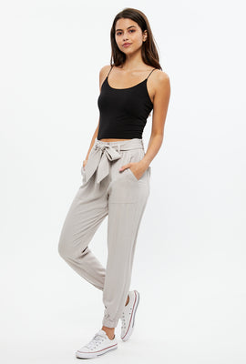 Paperbag Pant with Tie Belt