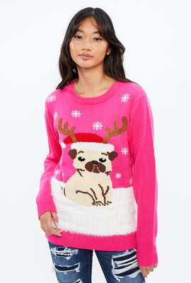 Pug Antler Pullover Sweater