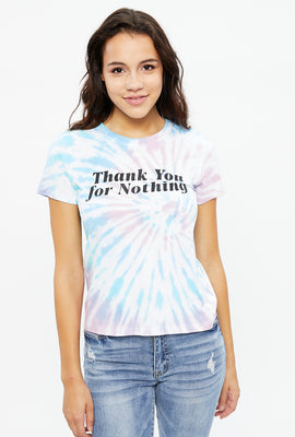 T-shirt classique teint-noué à imprimé Thank You For Nothing
