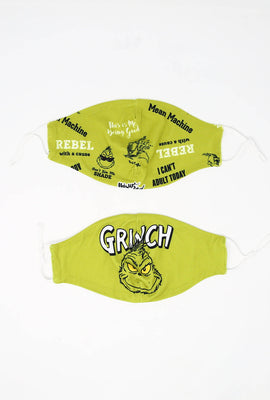 Super Soft Adjustable Double Layered Reusable Grinch Mask 2-Pack