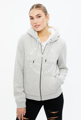 Sherpa Lined Full Zip Aéropostale Graphic Hoodie