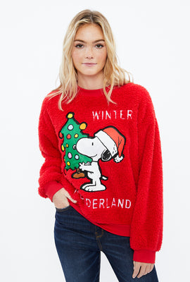 Snoopy Winter Wonderland Graphic Sherpa Crew Neck Sweatshirt