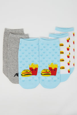 Hamburger and Fries Ankle Socks 3-Pack