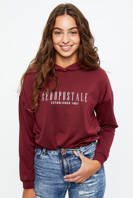 Aéropostale Cropped Drawcord Hem Pullover Graphic Hoodie
